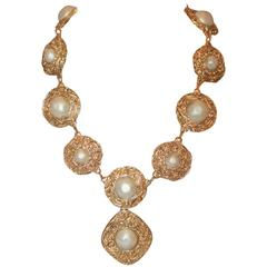 Chanel 1970's Byzantine Goldtone & Pearl Medallion Necklace