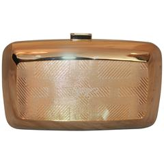 Roger Vivier Gold Metal and Fabric Clutch with Monogram