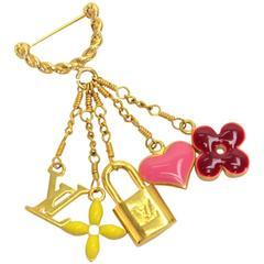 Louis Vuitton Gold Enamel Pink Yellow Flower Monogram Logo Lock Pin Brooch