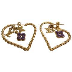 Louis Vuitton Gold Rope Enamel Logo LV Purple Flower Motif Charm Hoop Earrings