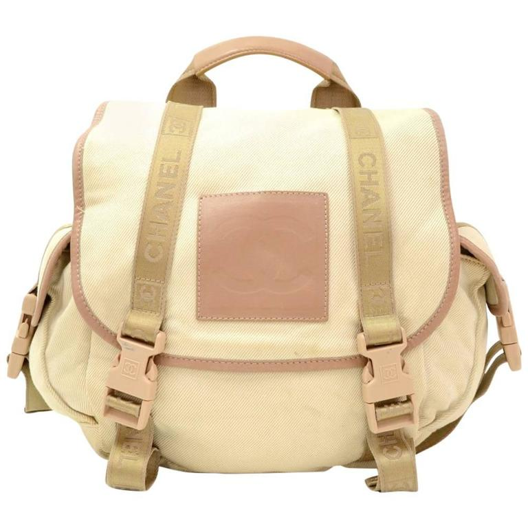 Chanel Sports Line Beige Canvas Backpack Bag 1