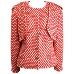 2008 Chanel Classic Red/White Polka Dot Tweed Jacket.