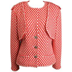 Chanel Classic Red/White Polka Dot Tweed Jacket.