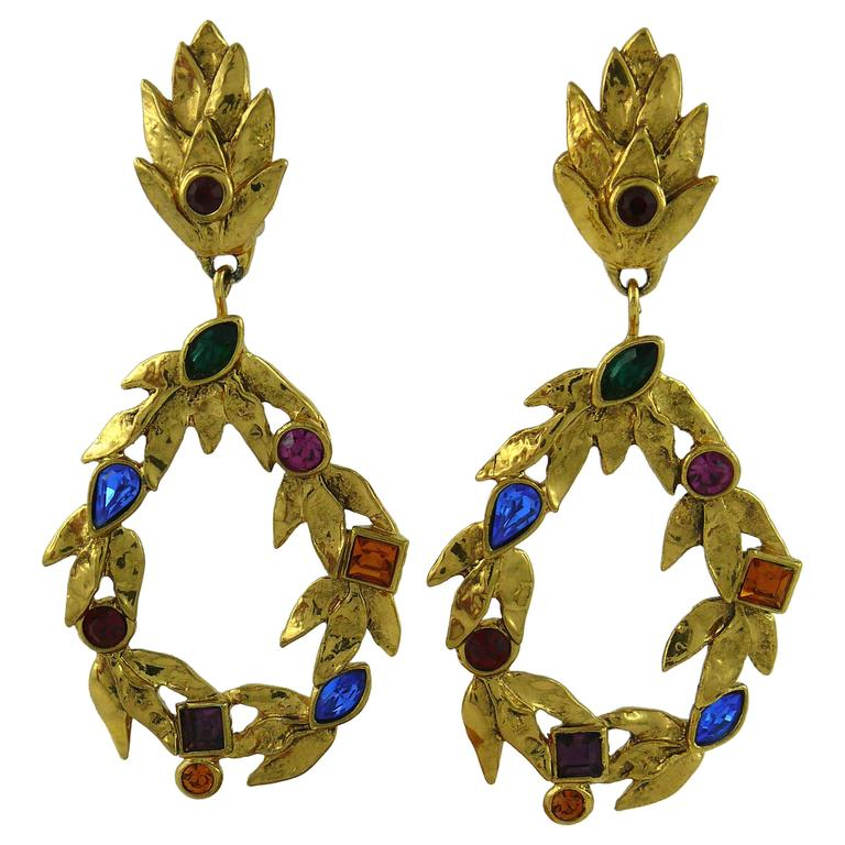759912f3c3a Yves Saint Laurent YSL Vintage Gold Toned Laurel and Crystal Dangling  Earrings For Sale