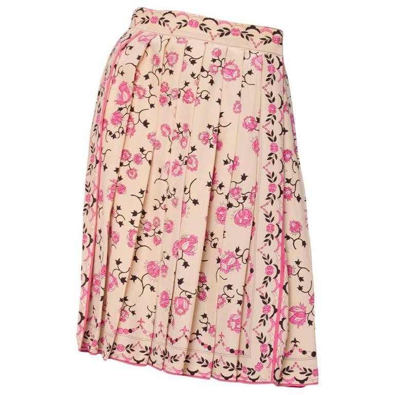 1960s Emilio Pucci Floral Print Silk Skirt