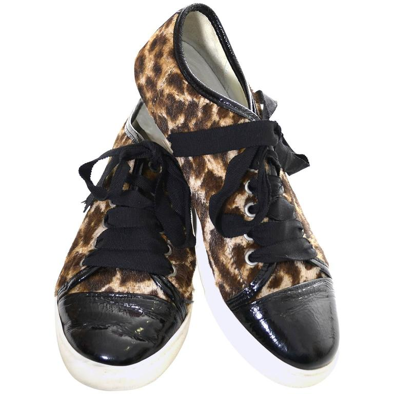 Lanvin Pony Hair Patent Leather Low Top Sneakers Lace Up Tennis Shoes 38 US 7.5