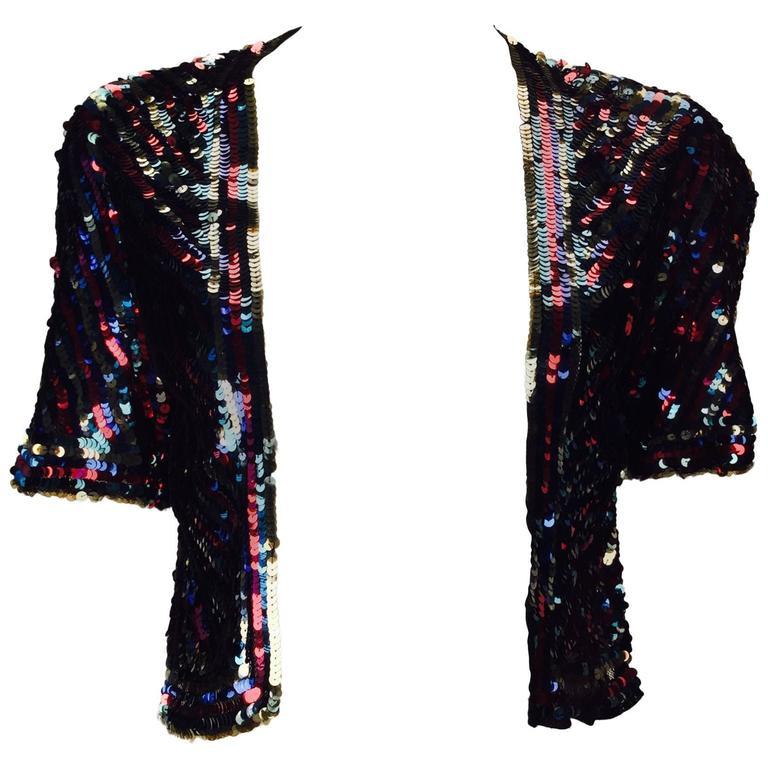 1940s Multicolor Sequin Short Sleeve Bolero