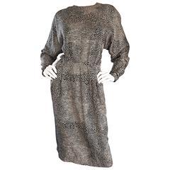 Adele Simpson for Neiman Marcus Vintage Lizard Print Black + Ivory Silk Dress