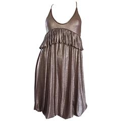 NWT Stella McCartney Gunmetal Pewter Racerback Empire Bubble Dress