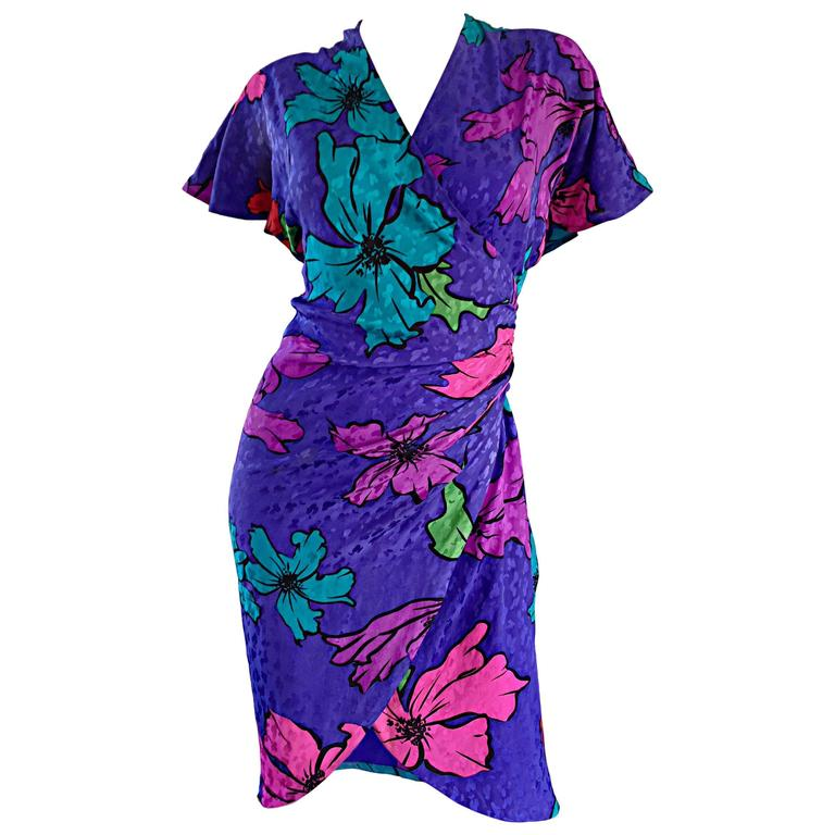Vintage Flora Kung Purple Silk Colorful Tropical Kimono Style Wrap Dress  For Sale