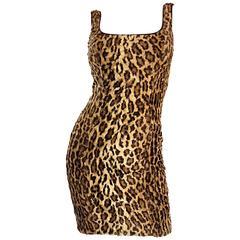 Sexy 1990s Tadashi Shoji Faux Fur Leopard BodyCon Cheetah Vintage 90s Dress