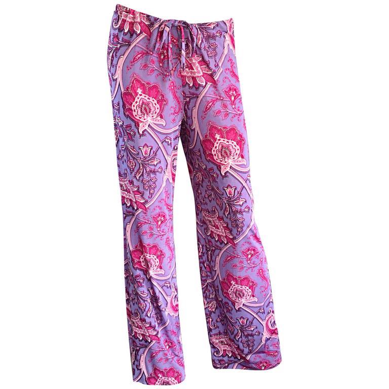 New Etro Purple + Fuchsia Pink Paisley Print Wide Leg Silk Palazzo Pants