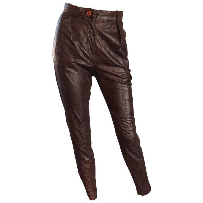 Vintage 1980s Armani Espresso Brown Alligator Embossed Skinny Slim Leather Pants