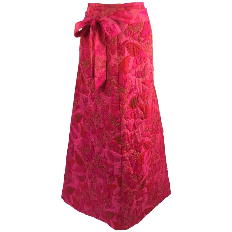 Wonderful 1970s Thai Silk Pink Butterly Printed Quilted Maxi Skirt  For Sale