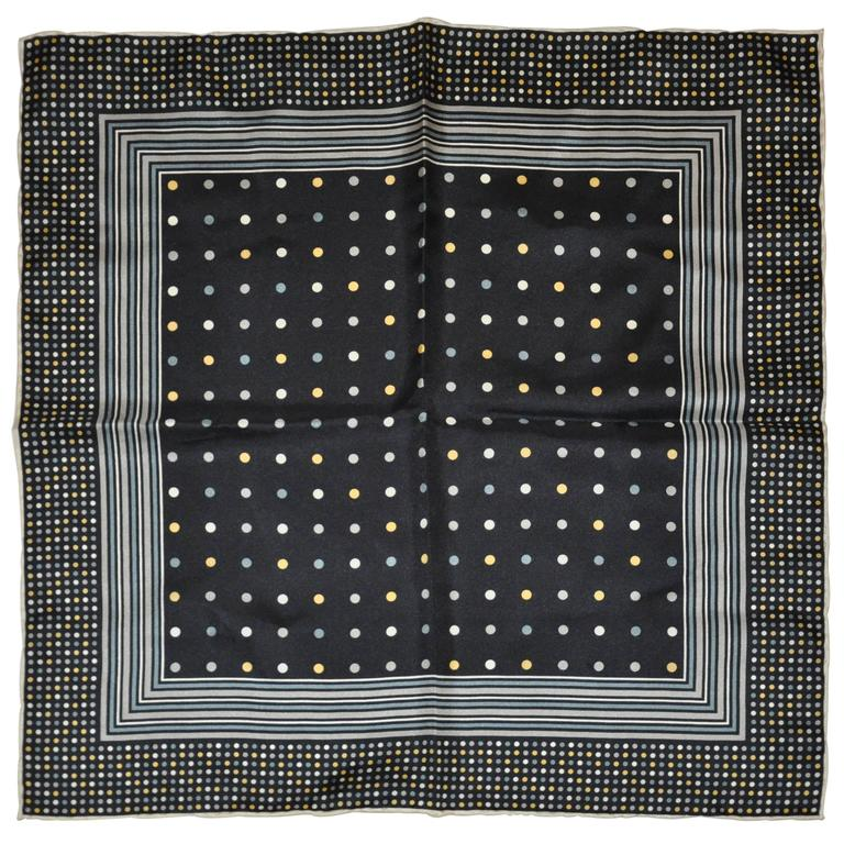 Dion Navy with Cream & Gray Silk Hankerchief