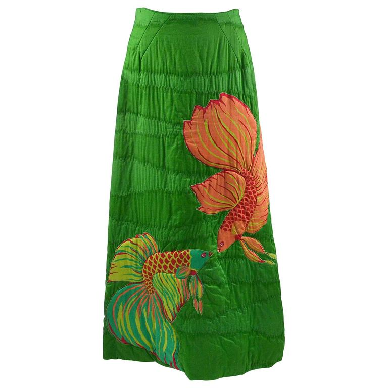 1970s Hand Screened Green Cotton Maxi Skirt