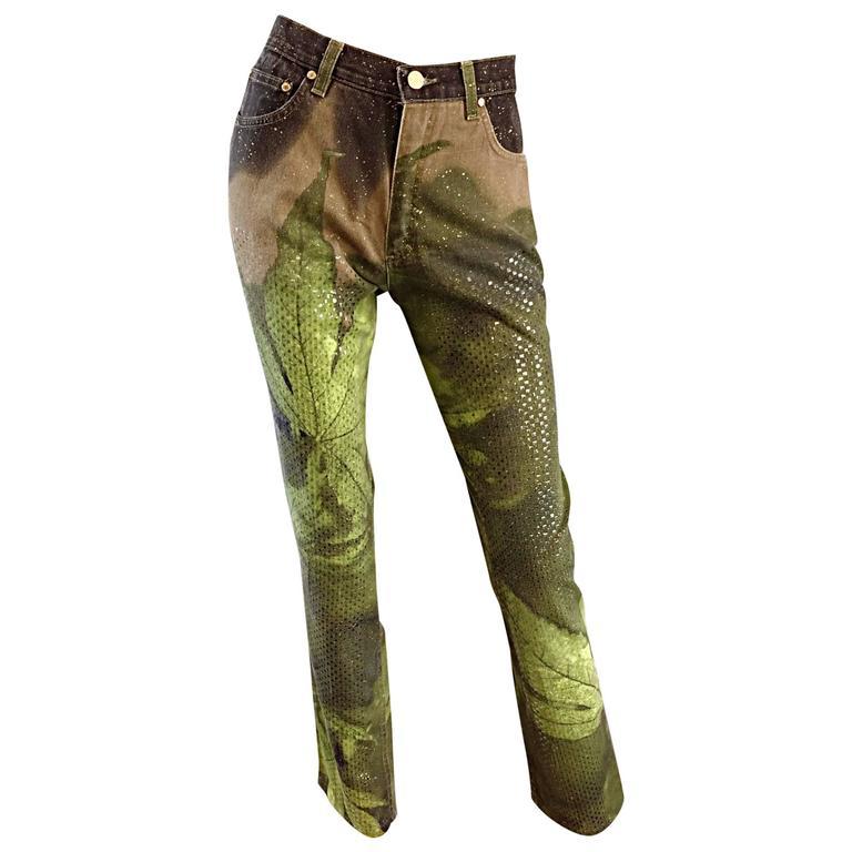 "Roberto Cavalli Vintage Marijuana ""Pot Leaves"" Sequin 1990s Jeans / Pants"