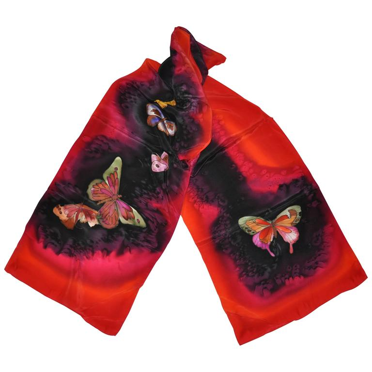 "Multi-Color Hand-Dyed ""Butterflies"" Silk Scarf"