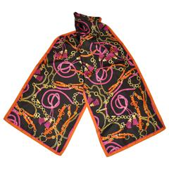 "Multi-Colored ""Chain & Horse bit"" Silk Scarf"