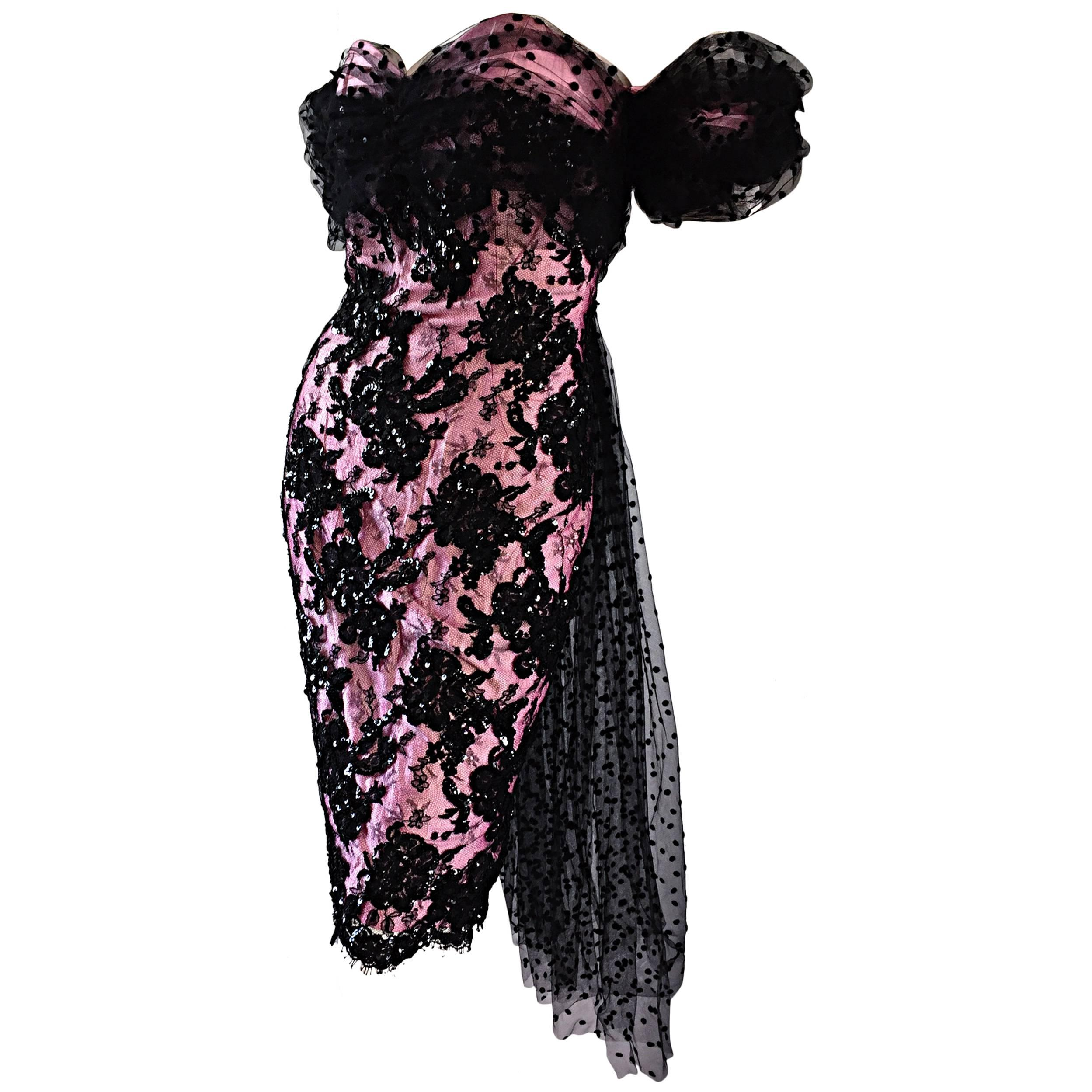 Lillie Rubin Vintage Pink and Black Silk Lace Sequin Dress w/ Tulle Train