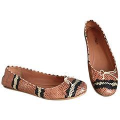 Alaia Python Snakeskin Pink + Black + Cream + Brown Ballet Flats Size 36 6