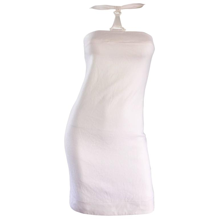 Rare 1990s Gianni Versace White Bondage BodyCon Vintage Dress w/ Medusa Harness For Sale