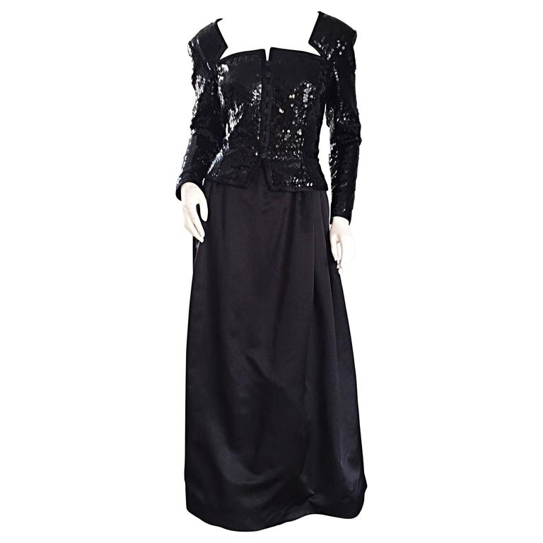 Travilla Vintage Black Sequin Avant Garde Cutout Silk Satin Evening Gown  For Sale