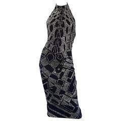 1970s Bob Mackie Black + Silver Glitter Sexy Disco Jersey Vintage Halter Dress
