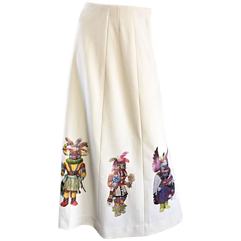 Amazing 1970s Shaman Aztec Mayan Novelty Vintage 70s Cartoon Boho Maxi Skirt