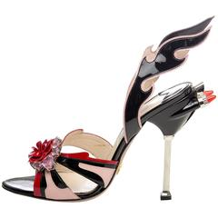 Prada Jewel Toe Tail Light Flame Sandals, Spring 2012