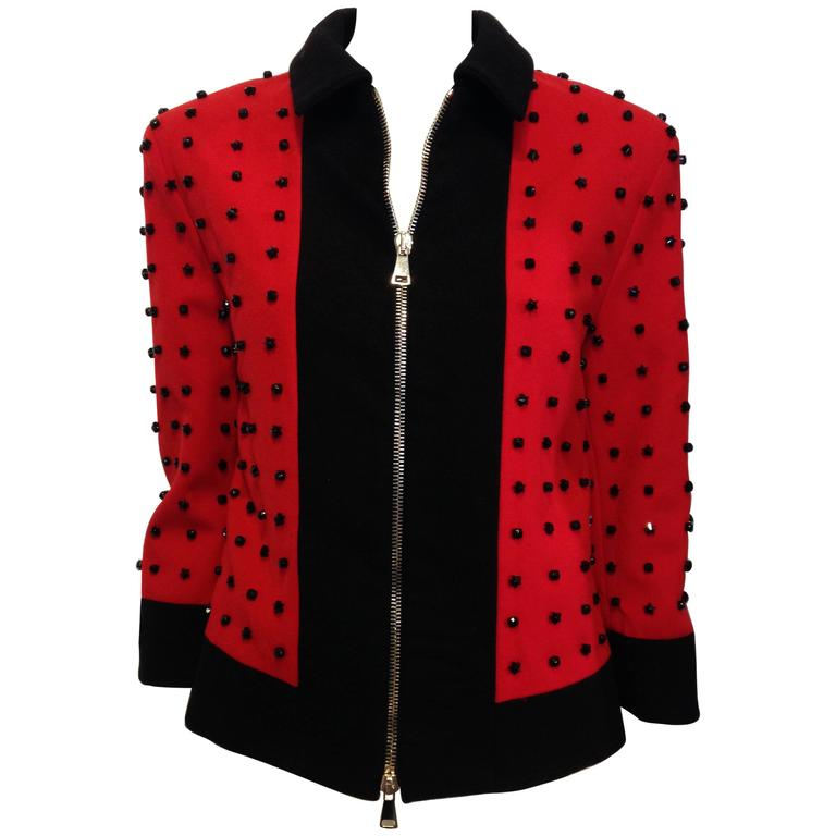 Givenchy Red Runway Jacket Black Star Embellishment Fall-Winter 2012-2013 Sz 38