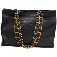 Chanel Vintage Lambskin Leather Gold Chain Oversize Weekender Shopper Tote Bag