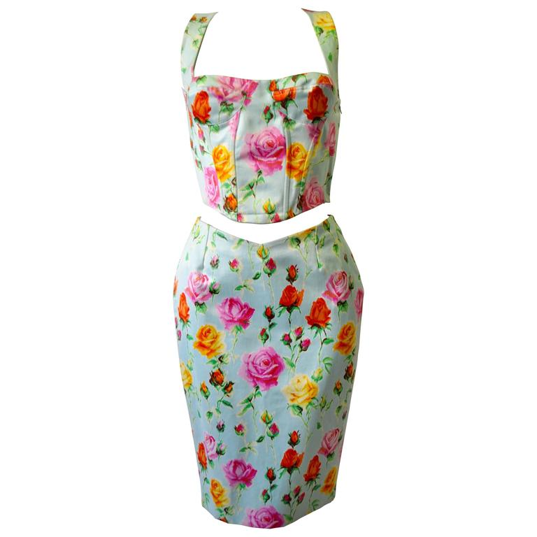 Gianni Versace Couture Floral Bustier and Pencil Skirt Ensemble 1