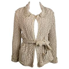 Chanel Beige/Gold Metallic Belted Cardigan Sweater Jacket