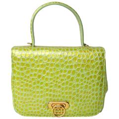 1980'S Escada  Lime Green Reptile Embossed Leather Hand bag New Old stock