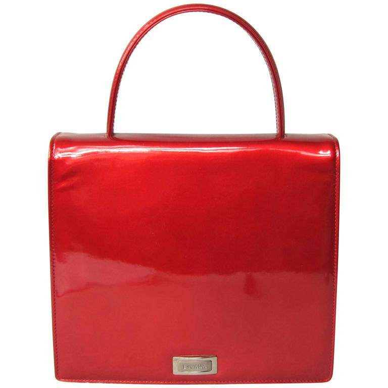 Red Patent Calf Leather Escada Handbag 1990s New Old Stock