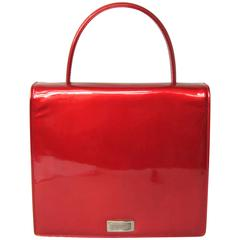 Red Patent Calf Leather Escada Handbag 1990s New Old Stock