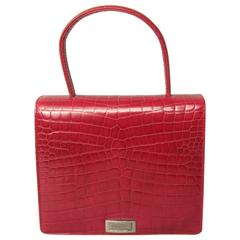 Deep Red Croc Embossed Leather Escada Kelly Handbag 1980s New Old stock