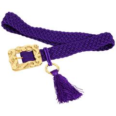 Yves St Laurent purple signed vintage passementerie tassel belt