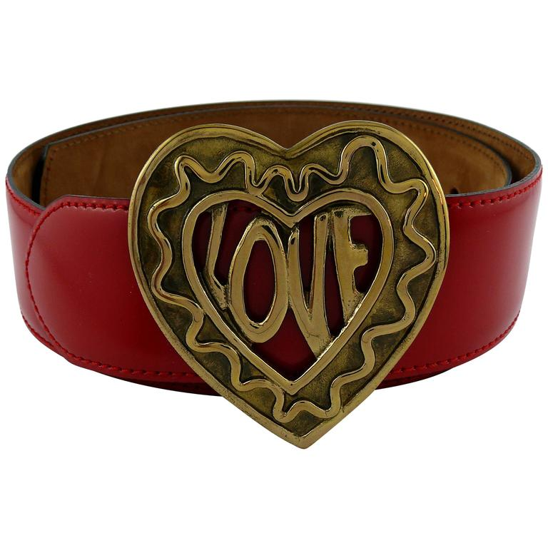 Moschino by Redwall Vintage Red Patent Leather Heart Love Belt For Sale