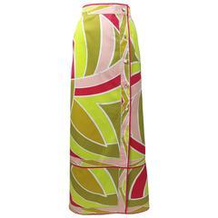 1960s Emilio Pucci Cotton Print Maxi Skirt