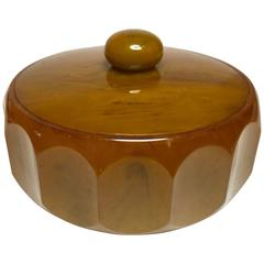 1930s Art Deco Butterscoth Bakelite Fluted Powder Box