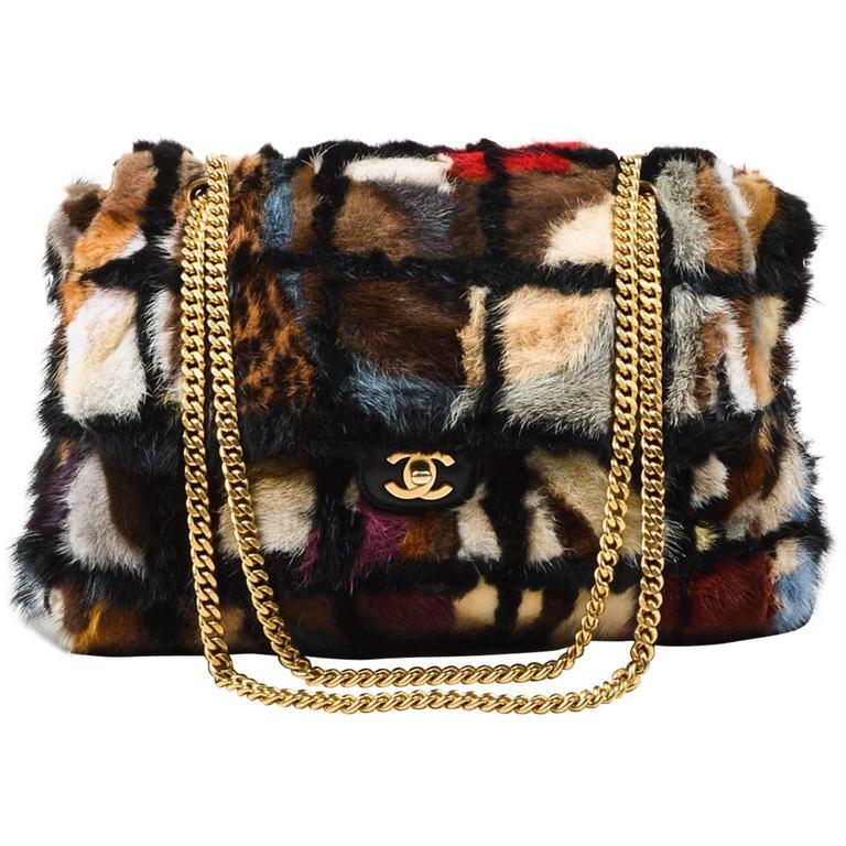 Chanel Multicolor Patchwork Mink Fur Flap Chain Strap Shoulder Bag  1