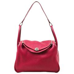 "Hermes Rouge Red Clemence Leather Zip Turn Lock ""Lindy 30"" Carryall Satchel Bag"