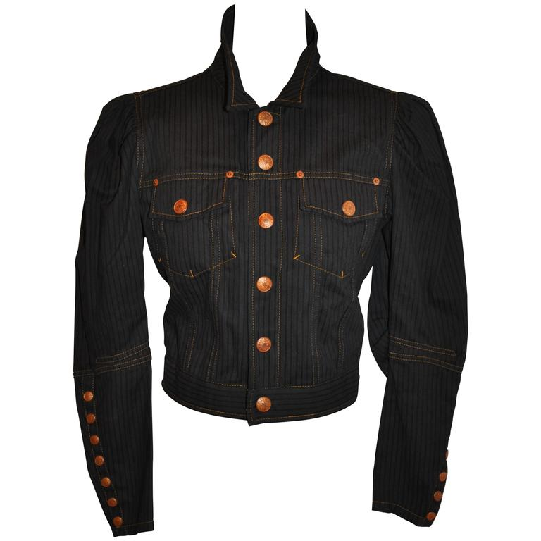 Jean Paul Gaultier Dark Denim Cropped Jacket With Detailed Sleeves For Sale