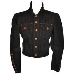 Jean Paul Gaultier Dark Denim Cropped Jacket With Detailed Sleeves