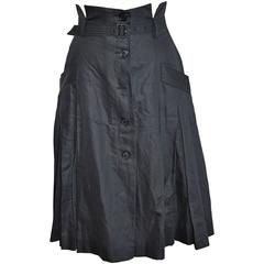 Alexander McQueen Navy Multi-Pleated Open-Front Button Skirt with Belt