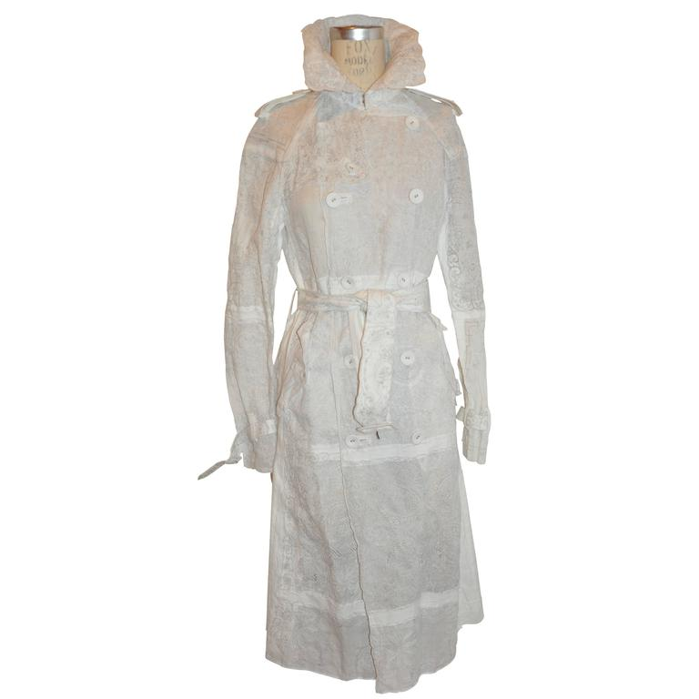 Comme des Garcons Detailed Hand-Embroidered Linen Blend Trench