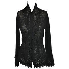 Jean Paul Gaultier Gentle Black Wool With Detailed Bell Sleeves Sweater