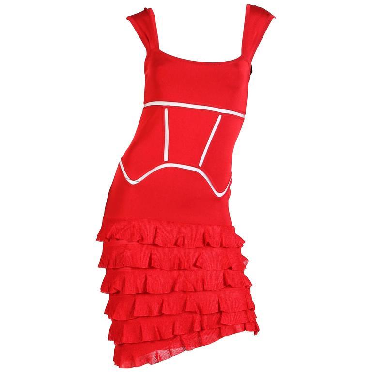 John Galliano Body-Con Dress with Sheer Knit Stripes 1